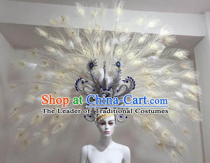 Top Grade Professional Stage Show Halloween Headpiece Feather Exaggerate Hat, Brazilian Rio Carnival Samba Opening Dance Peacock Spread Headwear for Women