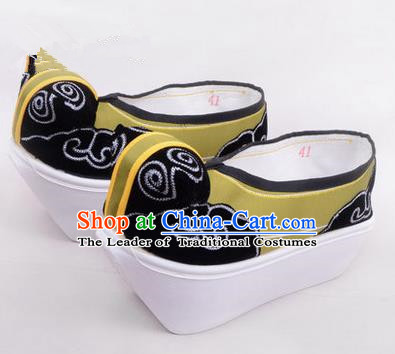 Chinese Ancient Peking Opera Scholar Young Men High Sole Shoes, Traditional China Beijing Opera Male Green Embroidered Shoes