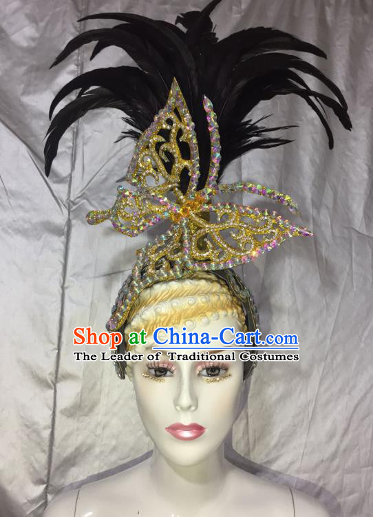 Top Grade Professional Stage Show Halloween Feather Headpiece Golden Exaggerate Hat, Brazilian Rio Carnival Samba Opening Dance Hair Accessories Headwear for Women