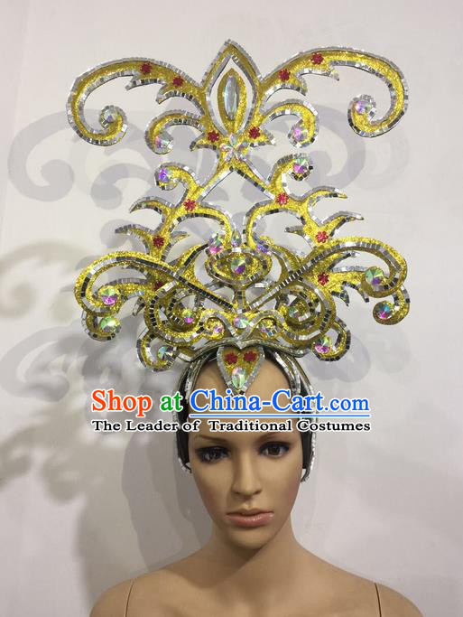 Top Grade Professional Stage Show Halloween Golden Crystal Headpiece Exaggerate Hat, Brazilian Rio Carnival Samba Opening Dance Hair Accessories Headwear for Women