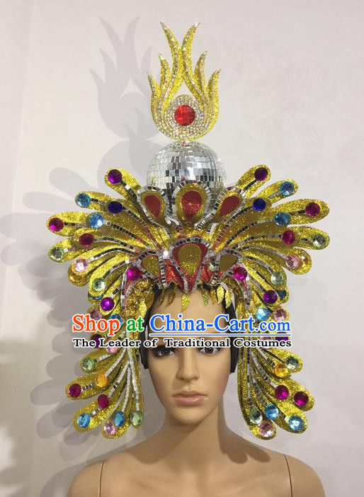 Top Grade Professional Stage Show Halloween Crystal Queen Headpiece Exaggerate Hat, Brazilian Rio Carnival Samba Opening Dance Hair Accessories Cleopatra Headwear for Women