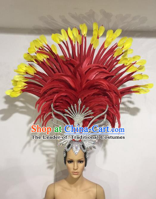 Top Grade Professional Stage Show Halloween Red Feather Headpiece Exaggerate Hat, Brazilian Rio Carnival Samba Opening Dance Hair Accessories Cleopatra Headwear for Women