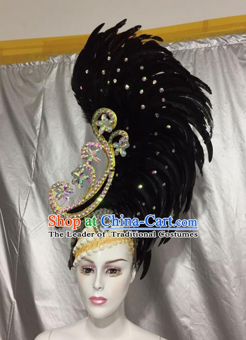 Top Grade Professional Stage Show Colorful Crystal Headpiece Hat, Brazilian Rio Carnival Samba Opening Dance Black Feather Headwear for Women
