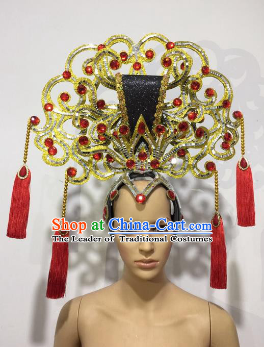 Top Grade Professional Stage Show Halloween Queen Headpiece Exaggerate Tassel Hat, Brazilian Rio Carnival Samba Opening Dance Imperial Empress Hair Accessories Headwear for Women