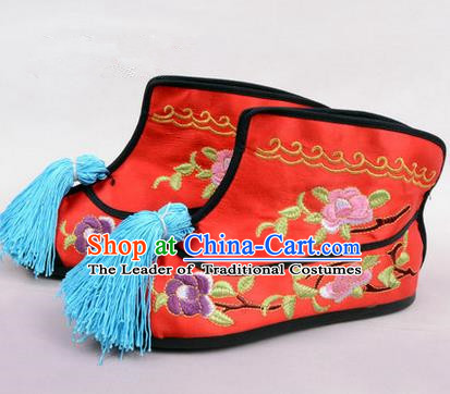 Chinese Ancient Peking Opera Martial Lady Embroidered Peony Boots, Traditional China Beijing Opera Princess Female Red Embroidered Shoes