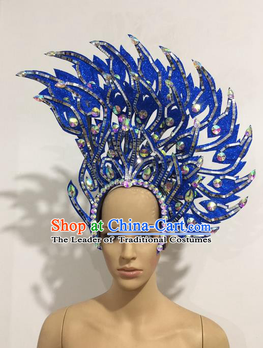 Top Grade Professional Stage Show Halloween Queen Headpiece Blue Hat, Brazilian Rio Carnival Samba Opening Dance Imperial Empress Hair Accessories Headwear for Women