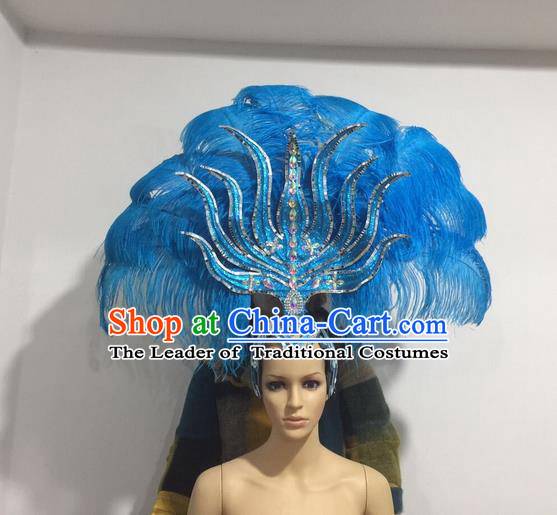 Top Grade Professional Stage Show Halloween Headpiece Blue Feather Hat, Brazilian Rio Carnival Samba Opening Dance Imperial Empress Hair Accessories Headwear for Women