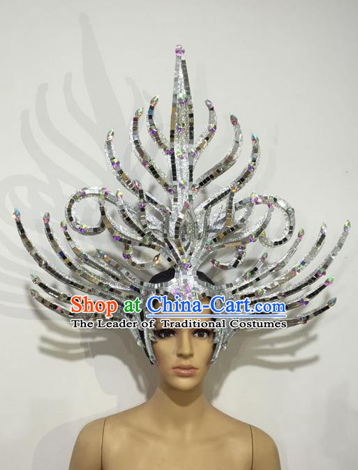 Top Grade Professional Stage Show Halloween Headpiece Hat, Brazilian Rio Carnival Samba Opening Dance Imperial Empress Hair Accessories Headwear for Women