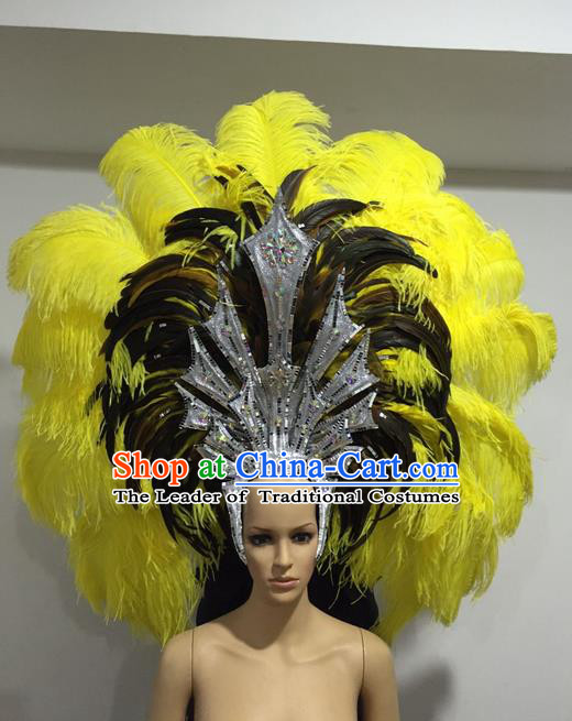Top Grade Professional Stage Show Halloween Giant Headpiece Feather Big Hair Accessories Decorations, Brazilian Rio Carnival Samba Opening Dance Hat Headwear for Women