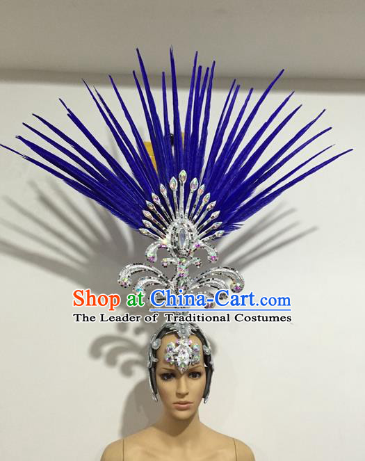 Top Grade Professional Stage Show Giant Headpiece Blue Feather Big Hair Accessories Decorations, Brazilian Rio Carnival Samba Opening Dance Hat Headwear for Women