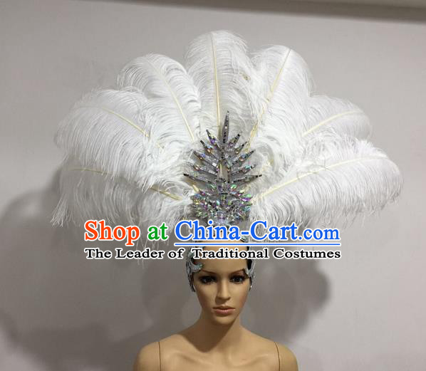 Top Grade Professional Stage Show Giant Headpiece White Feather Big Hair Accessories Decorations, Brazilian Rio Carnival Samba Opening Dance Hat Headwear for Women