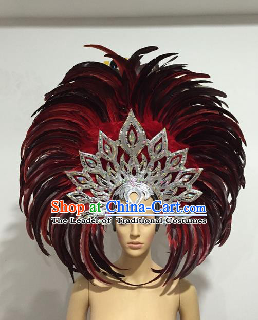 Top Grade Professional Stage Show Halloween Giant Headpiece Feather Hat, Brazilian Rio Carnival Samba Opening Dance Imperial Empress Hair Accessories Headwear for Women
