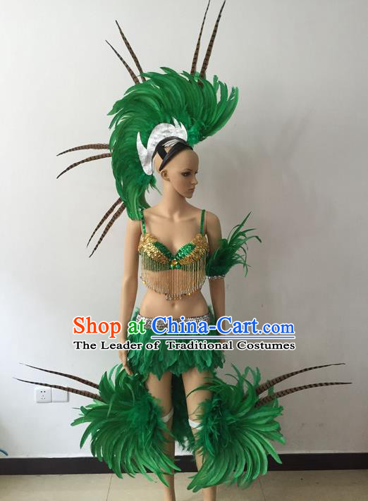 Top Grade Professional Performance Catwalks Bikini Costume, Traditional Brazilian Rio Carnival Samba Modern Fancywork Green Feather Swimsuits Clothing for Women