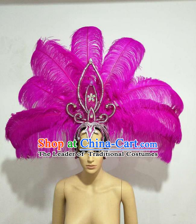 Top Grade Professional Stage Show Giant Headpiece Parade Big Hair Accessories Decorations, Brazilian Rio Carnival Samba Opening Dance Rosy Feather Headdresses for Women