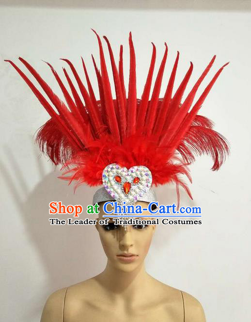 Top Grade Professional Stage Show Giant Headpiece Parade Hair Accessories Decorations, Brazilian Rio Carnival Samba Opening Dance Red Feather Hats for Women