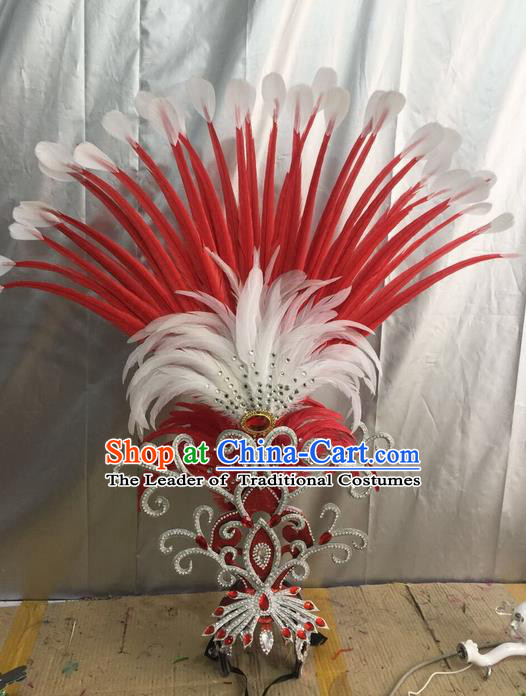 Top Grade Professional Stage Show Halloween Giant Headpiece Red Feather Hat, Brazilian Rio Carnival Samba Opening Dance Imperial Empress Hair Accessories Headwear for Women