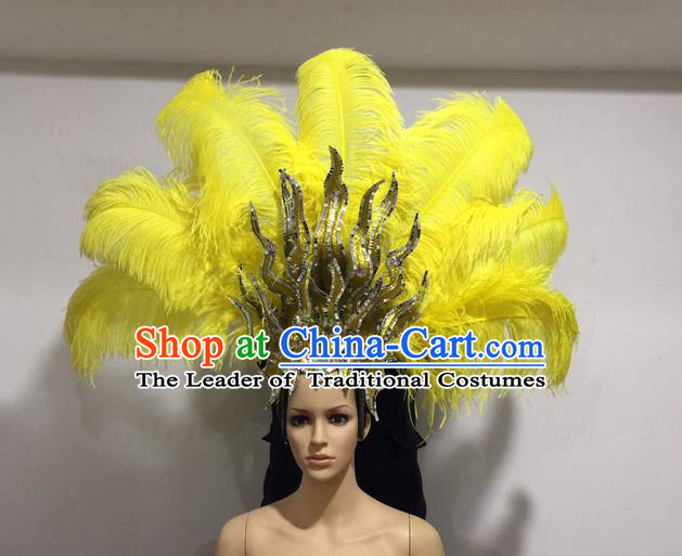 Top Grade Professional Stage Show Halloween Giant Headpiece Yellow Feather Big Hair Accessories Decorations, Brazilian Rio Carnival Samba Opening Dance Hat Headwear for Women