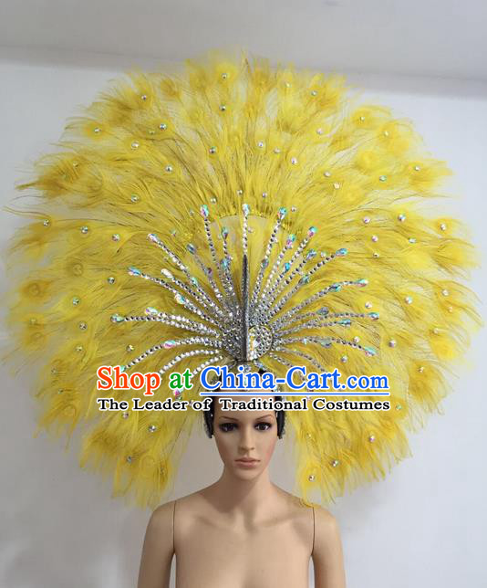 Top Grade Professional Stage Show Giant Headpiece Yellow Feather Big Hair Accessories Decorations, Brazilian Rio Carnival Samba Opening Dance Headwear for Women