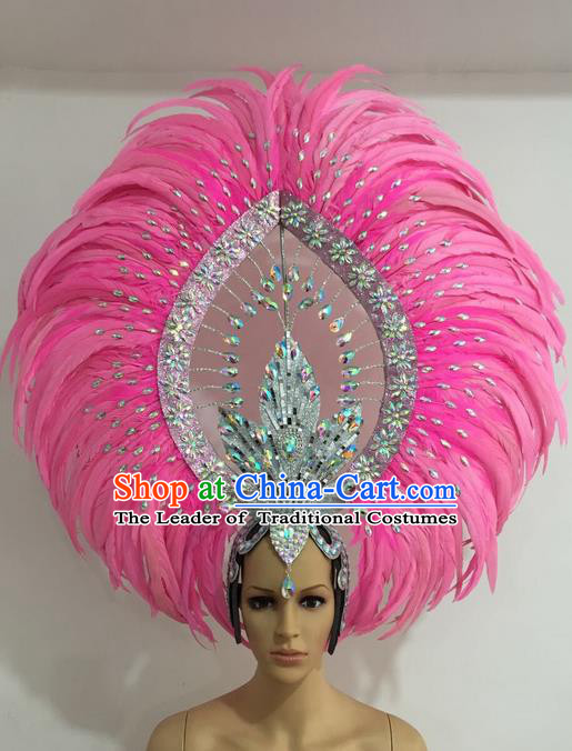 Top Grade Professional Stage Show Giant Headpiece Parade Giant Pink Feather Crystal Hair Accessories Decorations, Brazilian Rio Carnival Samba Opening Dance Headwear for Women