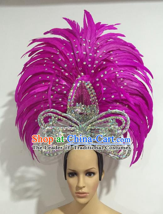 Top Grade Professional Stage Show Giant Headpiece Parade Giant Crystal Hair Accessories Rosy Feather Queen Decorations, Brazilian Rio Carnival Samba Opening Dance Headwear for Women