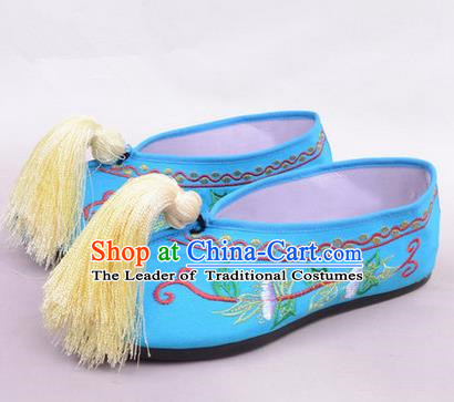 Chinese Ancient Peking Opera Young Lady Bride Embroidered Hua Tan Shoes, Traditional China Beijing Opera Princess Wedding Blue Embroidered Shoes