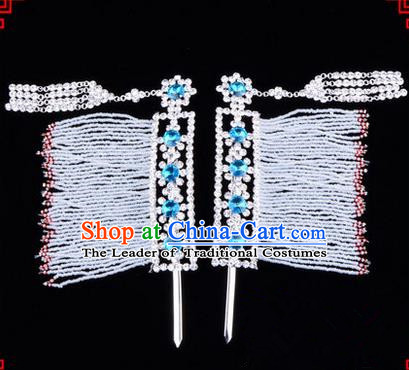 Chinese Ancient Peking Opera Hair Accessories Young Lady Diva Crystal Hairpins Blue Temples Curtain, Traditional Chinese Beijing Opera Hua Tan Head Ornaments