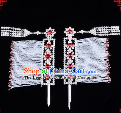 Chinese Ancient Peking Opera Hair Accessories Young Lady Diva Crystal Hairpins Red Temples Curtain, Traditional Chinese Beijing Opera Hua Tan Head Ornaments