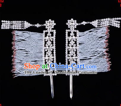 Chinese Ancient Peking Opera Hair Accessories Young Lady Diva Crystal Hairpins White Temples Curtain, Traditional Chinese Beijing Opera Hua Tan Head Ornaments