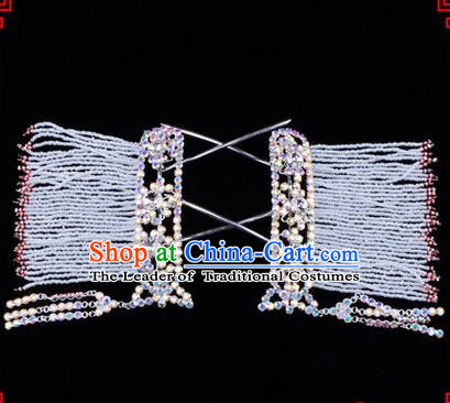 Chinese Ancient Peking Opera Hair Accessories Young Lady Diva Colorful Crystal Hairpins White Temples Curtain, Traditional Chinese Beijing Opera Hua Tan Head Ornaments