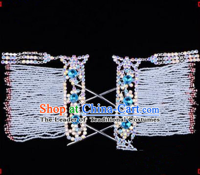Chinese Ancient Peking Opera Hair Accessories Young Lady Diva Colorful Crystal Hairpins Blue Temples Curtain, Traditional Chinese Beijing Opera Hua Tan Head Ornaments