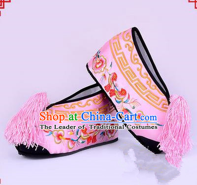 Chinese Ancient Peking Opera Young Lady Bride Embroidered Flowers Hua Tan Shoes, Traditional China Beijing Opera Princess Wedding Pink Embroidered Increase Shoes