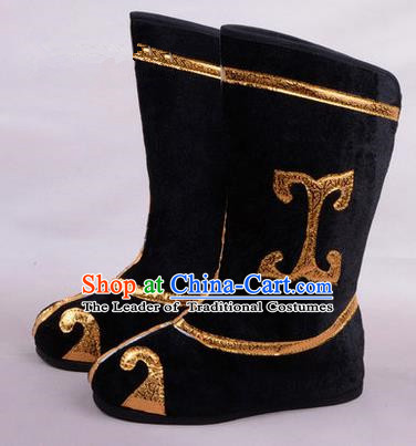 Chinese Ancient Peking Opera Martial Lady Swordplay Embroidered Boots, Traditional China Beijing Opera Dragon Dance Black Embroidered Shoes