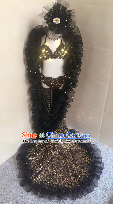 Top Grade Compere Professional Performance Catwalks Swimsuit Costumes, Traditional Brazilian Rio Carnival Samba Opening Dance Suits Modern Fancywork Bikini Clothing for Kids