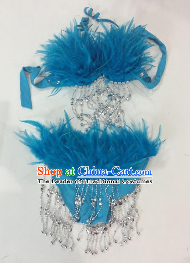 Top Grade Professional Performance Catwalks Swimsuit Costumes, Traditional Brazilian Rio Carnival Samba Suits Modern Fancywork Blue Feather Bikini for Women