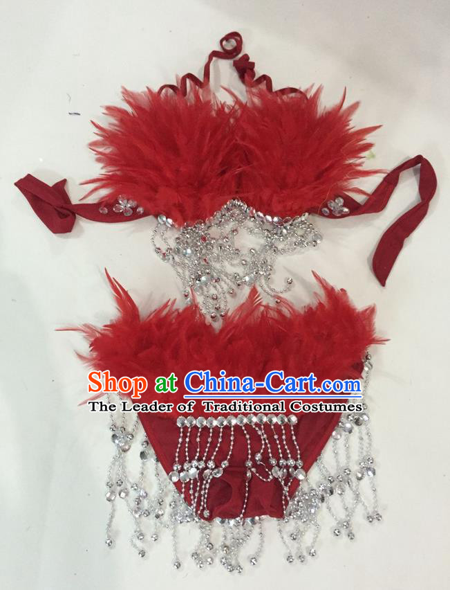 Top Grade Professional Performance Catwalks Swimsuit Costumes, Traditional Brazilian Rio Carnival Samba Suits Modern Fancywork Red Feather Bikini for Women