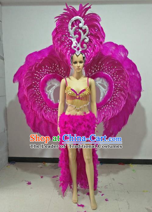 Top Grade Professional Performance Catwalks Swimsuit Costumes with Wings Headpiece, Traditional Brazilian Rio Carnival Samba Suits Modern Fancywork Rosy Feather Bikini for Women