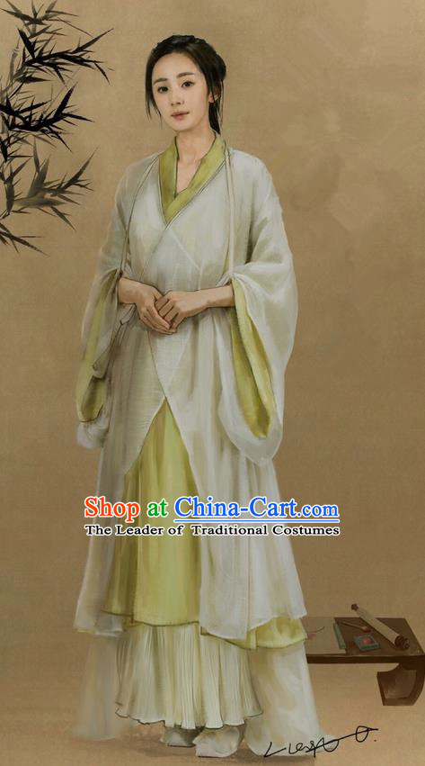 Traditional Ancient Chinese Young Lady Costume, Films Brotherhood of Blades Chinese Ming Dynasty Farmwife Hanfu Clothing and Handmade Headpiece Complete Set