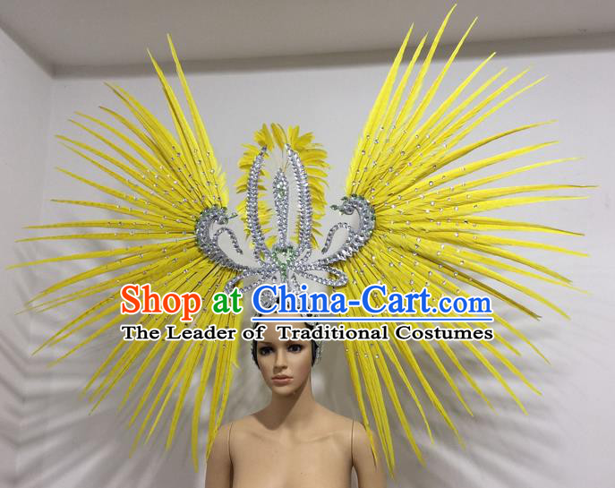 Top Grade Professional Stage Show Giant Headpiece Parade Hair Accessories Decorations, Brazilian Rio Carnival Samba Opening Dance Yellow Feather Headdress for Women
