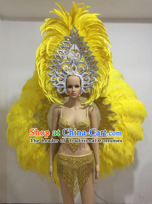 Top Grade Professional Performance Catwalks Yellow Feather Wings and Headpiece, Traditional Brazilian Rio Carnival Samba Opening Dance Props Modern Fancywork Backboard for Women