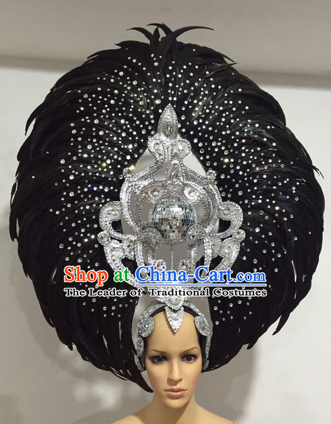Top Grade Professional Stage Show Halloween Big Hair Accessories Decorations, Brazilian Rio Carnival Samba Opening Dance Black Feather Headpiece for Women