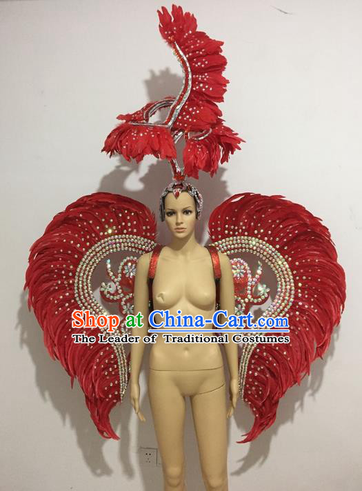 Top Grade Professional Stage Show Halloween Props Wings and Headpiece, Brazilian Rio Carnival Parade Samba Opening Dance Red Feather Backplane for Women