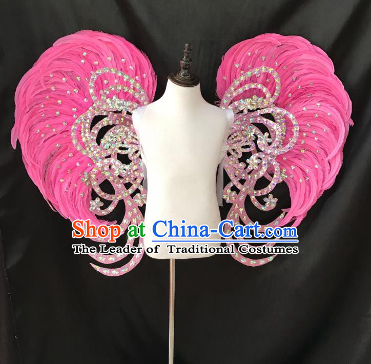 Top Grade Professional Stage Show Halloween Props Wings and Headpiece, Brazilian Rio Carnival Parade Samba Dance Modern Fancywork Pink Feather Backplane for Kids