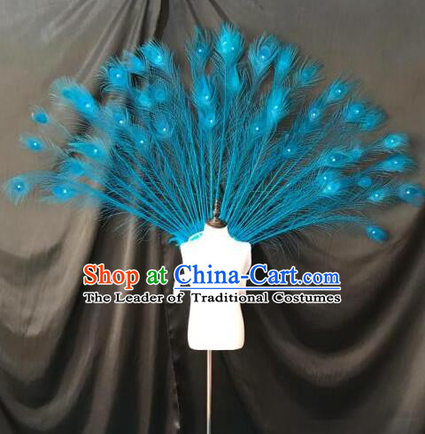 Top Grade Professional Stage Show Halloween Props Wings, Brazilian Rio Carnival Parade Samba Dance Modern Fancywork Blue Feather Backplane for Kids