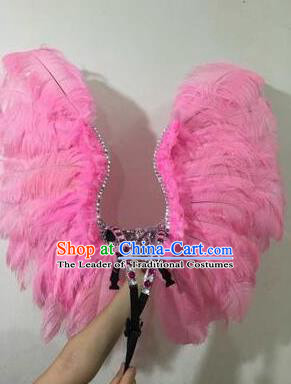 Top Grade Professional Stage Show Halloween Props Pink Wings, Brazilian Rio Carnival Parade Samba Dance Modern Fancywork Backplane for Kids
