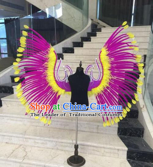 Top Grade Professional Stage Show Halloween Props Rosy Feather Wings, Brazilian Rio Carnival Parade Samba Dance Modern Fancywork Backplane for Kids