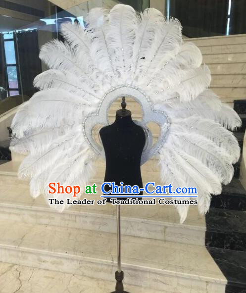 Top Grade Professional Stage Show Halloween Props White Feather Wings, Brazilian Rio Carnival Parade Samba Dance Modern Fancywork Backplane for Kids