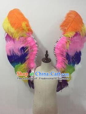 Top Grade Professional Stage Show Halloween Props Colorful Feather Wings, Brazilian Rio Carnival Parade Samba Dance Modern Fancywork Backplane for Kids
