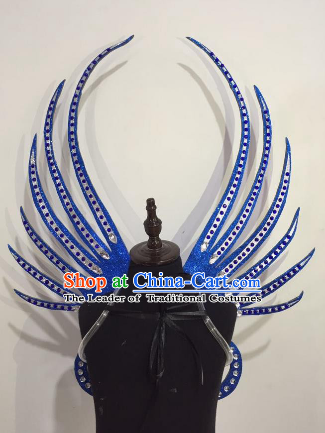 Top Grade Professional Stage Show Halloween Props Blue Wings, Brazilian Rio Carnival Parade Samba Dance Modern Fancywork Backplane for Kids
