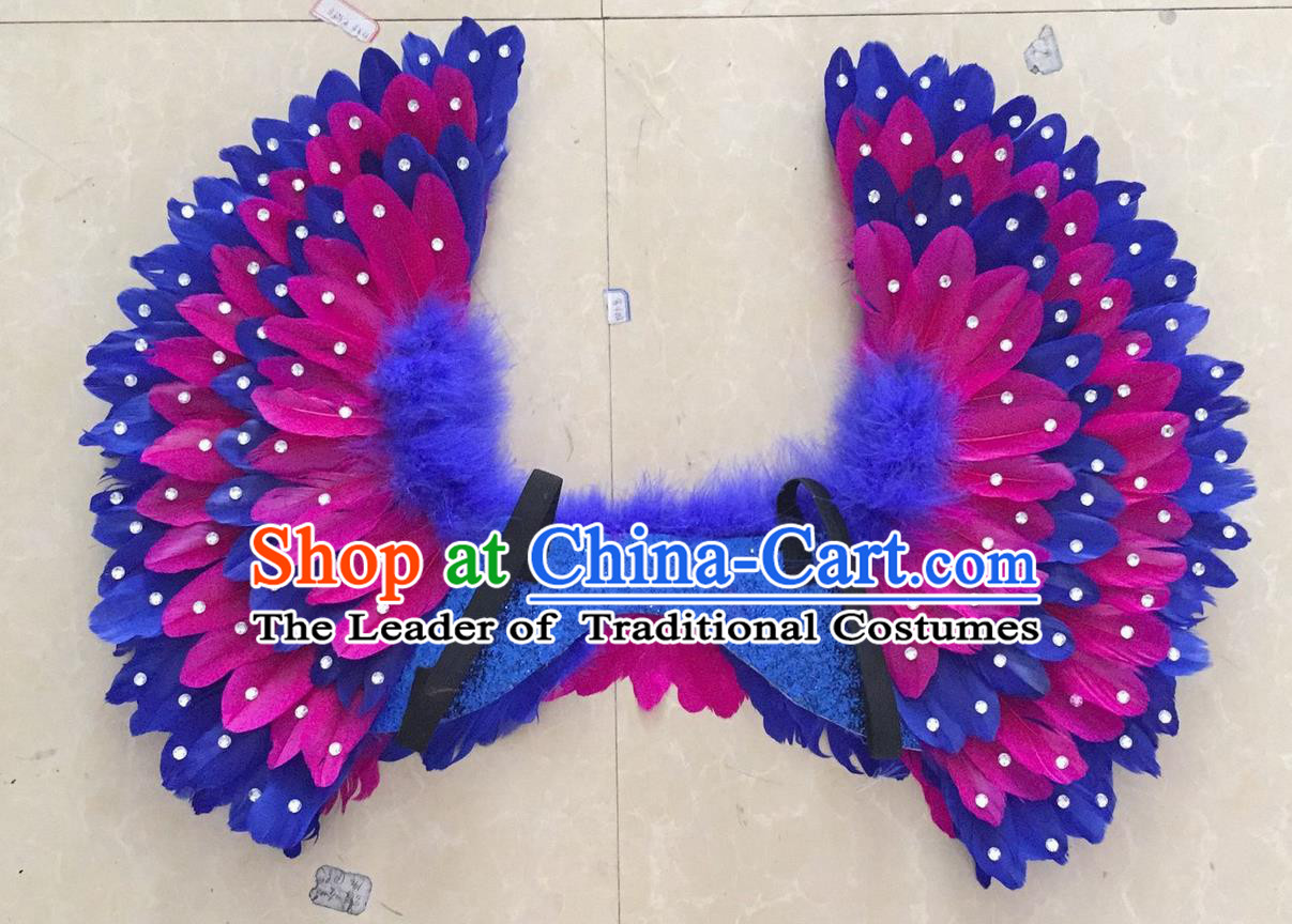 Top Grade Professional Stage Show Halloween Props Purple Feather Wings, Brazilian Rio Carnival Parade Samba Dance Modern Fancywork Backplane for Kids