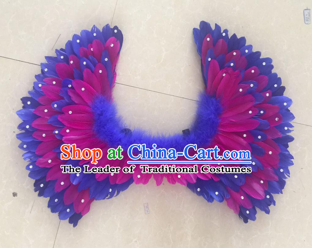 Top Grade Professional Stage Show Halloween Props Feather Wings, Brazilian Rio Carnival Parade Samba Dance Modern Fancywork Backplane for Kids